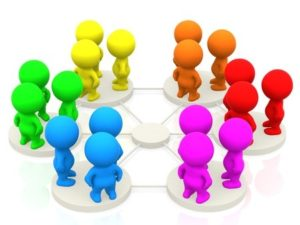 7490405 - groups of 3d people networking - isolated over a white background